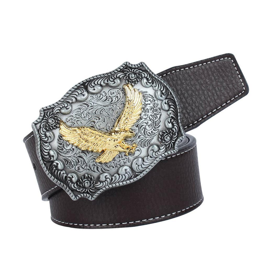 Western-Leather-Flying-Eagle-amp-Arabesque-Cowboy-Belt-Buckle-For-Men-Jeans thumbnail 21