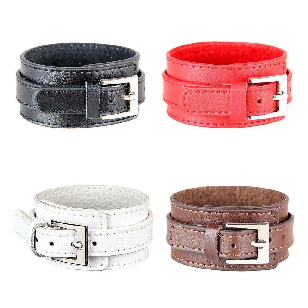 Indexbild 3 - Modeschmuck Pu Kuh Leder Breite Stulpe Armband Snap Armreif Für Männer Frauen