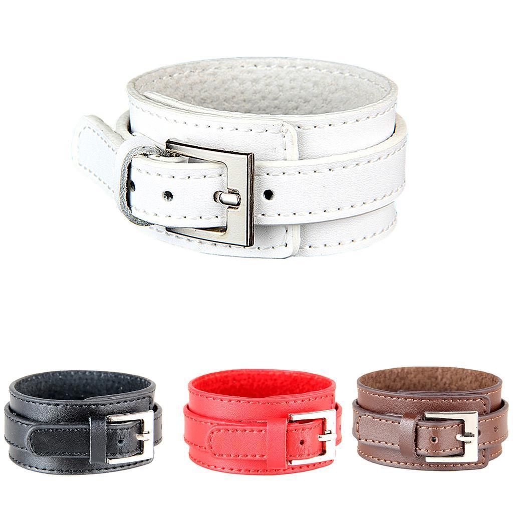 Indexbild 4 - Modeschmuck Pu Kuh Leder Breite Stulpe Armband Snap Armreif Für Männer Frauen
