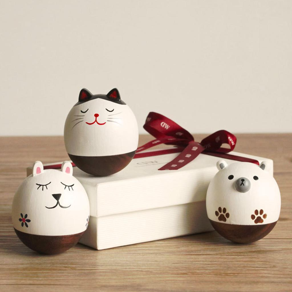 Wooden-Tumbler-Craft-Wood-Animal-Figure-Toy-Office-Desk-Decor-Ornament thumbnail 20