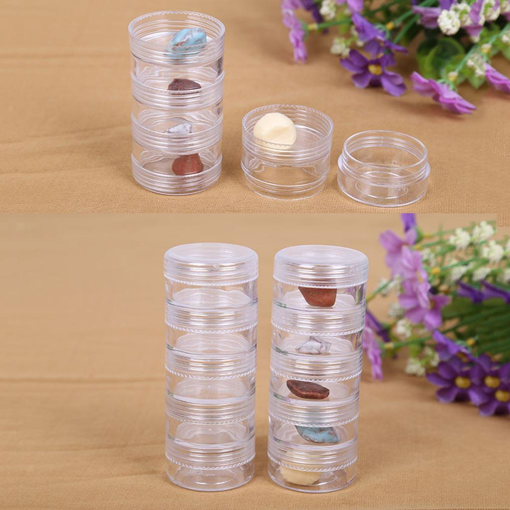 2Set Stackable Jewelry Containers Box Jar Case Organizer Jewellery 77x27mm