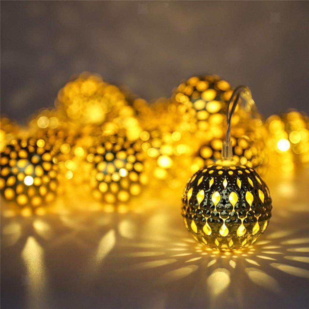 miniature 7 - 50 LED boule solaire chaîne lumières fête fée Patio extérieur jardin Hall