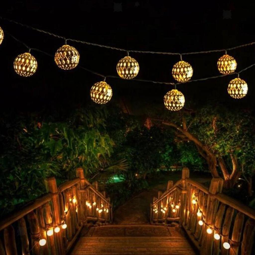 miniature 6 - 50 LED boule solaire chaîne lumières fête fée Patio extérieur jardin Hall