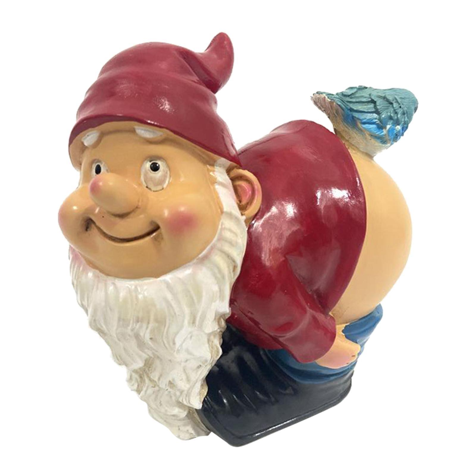 thumbnail 19 - Funny Resin Naughty Garden Gnome Statue Ornaments Outdoor Villa Home Figurines