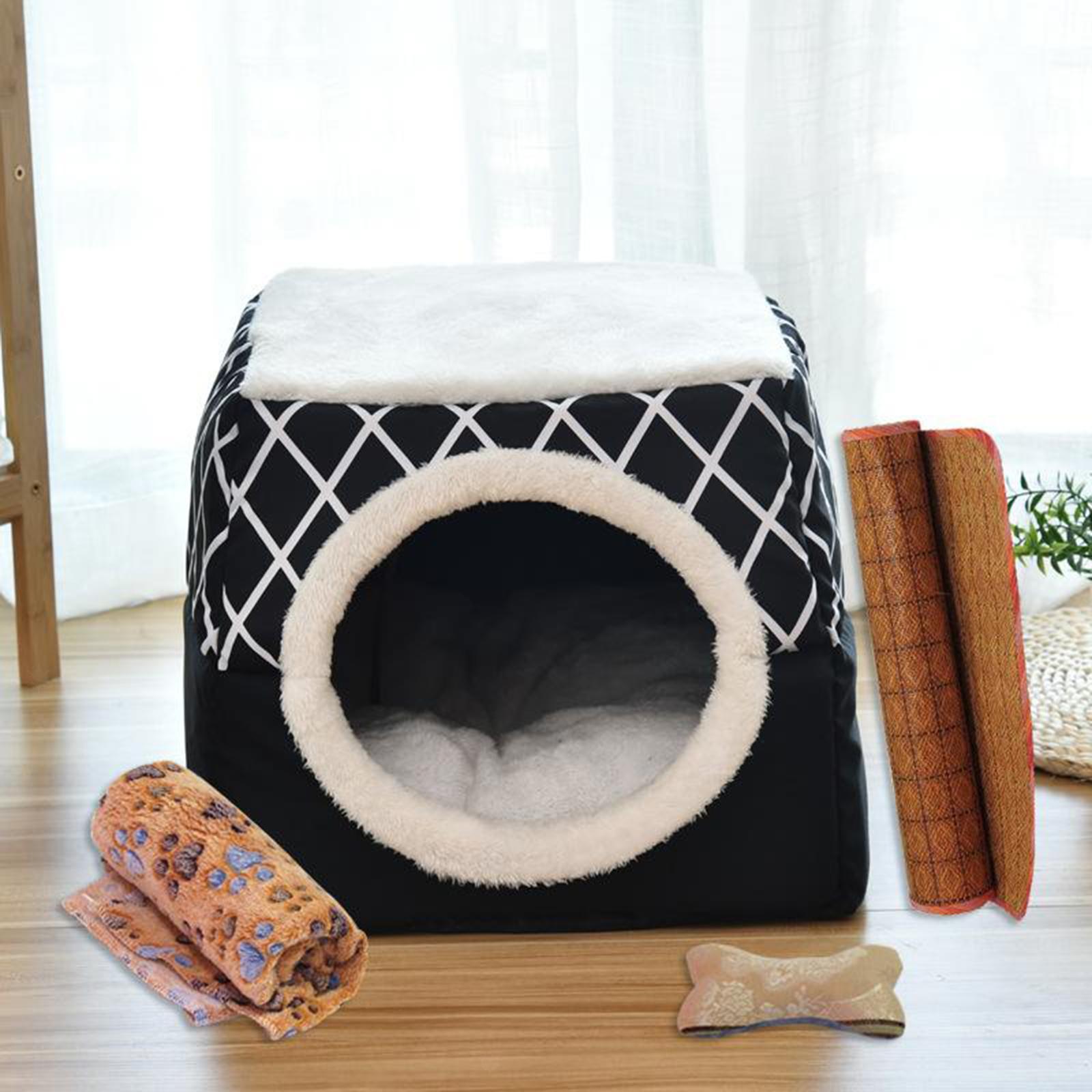 Indexbild 41 - 2-in-1-Weichen-Katzen-Haus-Schlafen-Bett-Zwinger-Puppy-Cave-Warme-Nest-Matte