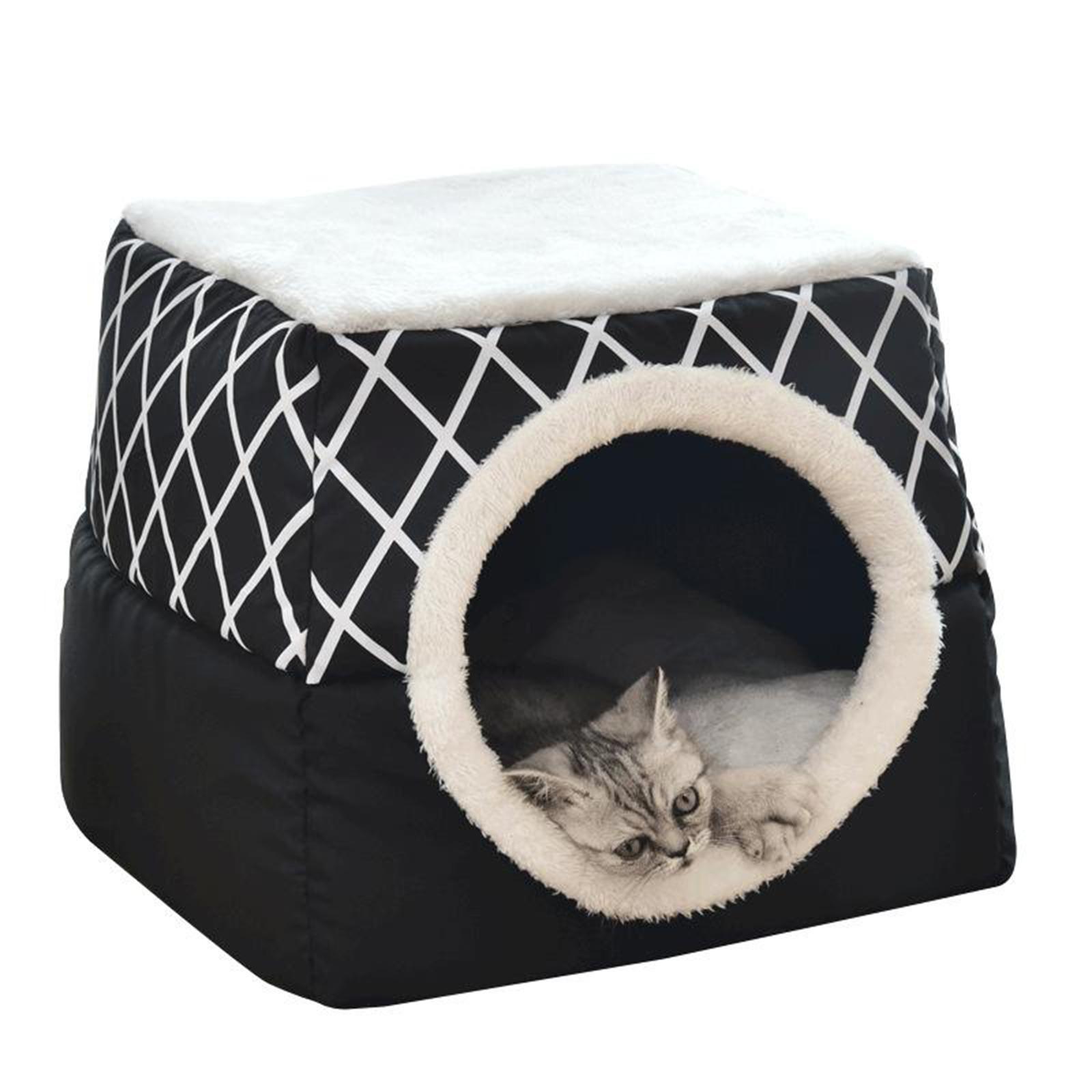 Indexbild 35 - 2-in-1-Weichen-Katzen-Haus-Schlafen-Bett-Zwinger-Puppy-Cave-Warme-Nest-Matte