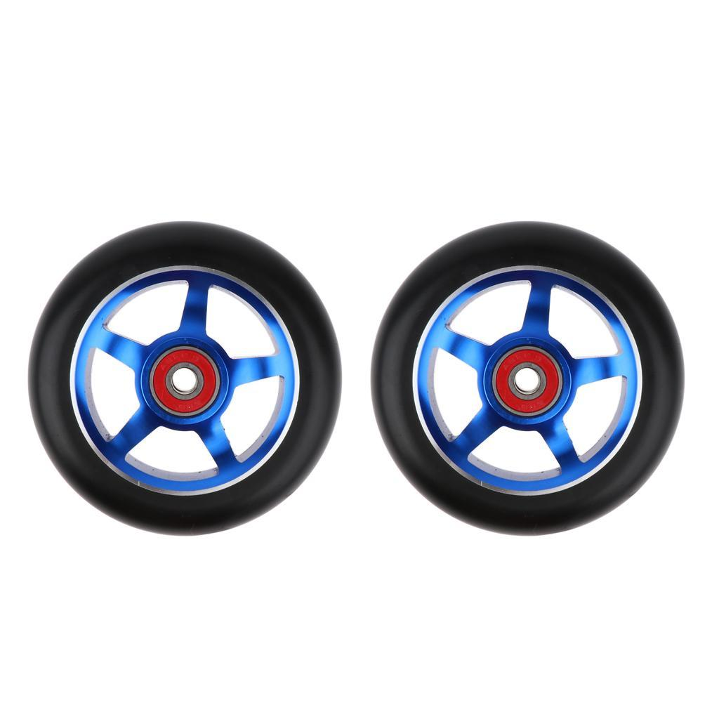 Prettyia 2pcs 100mm Metal Alloy Core Stunt Scooter Wheel Wheels with Bearing 88A