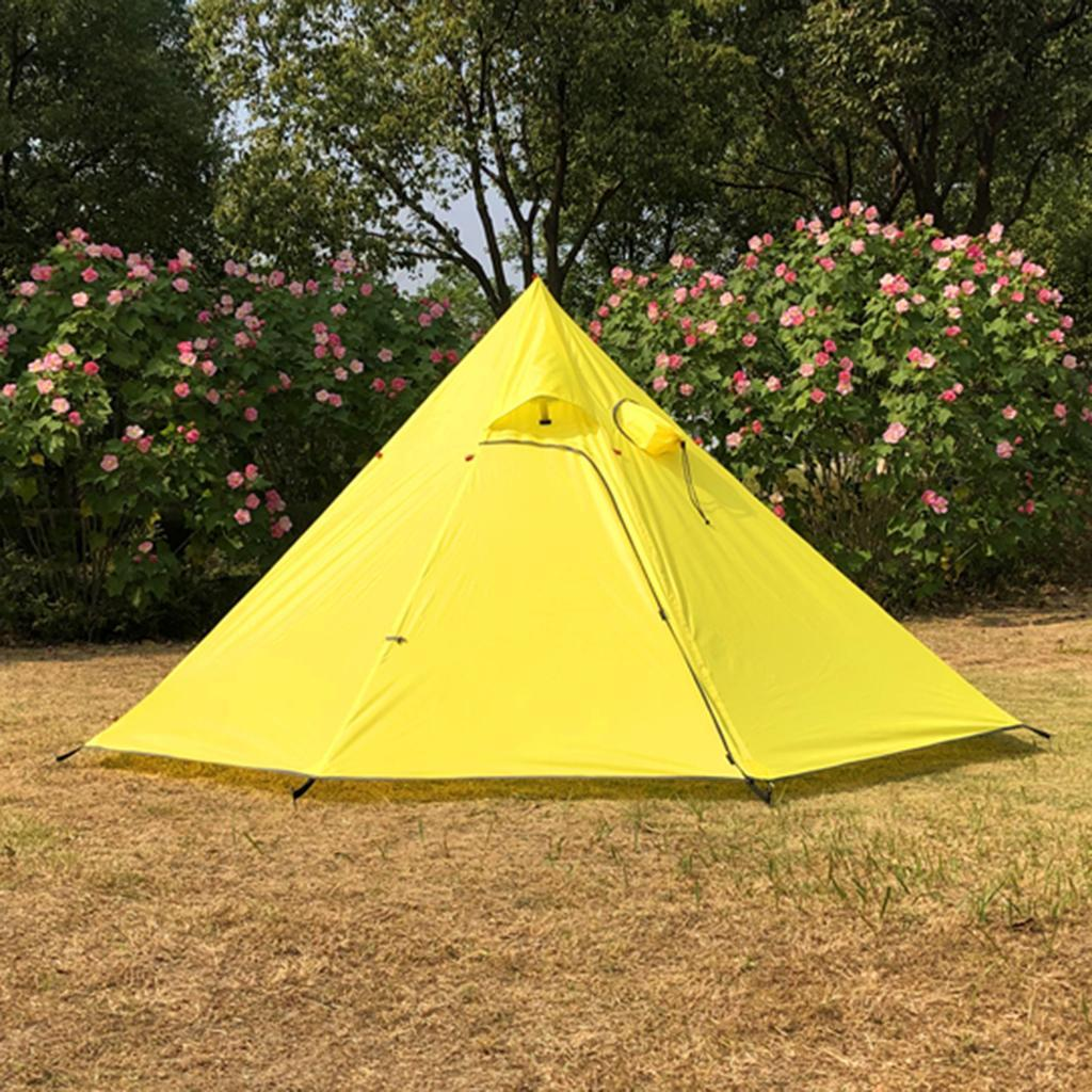 Waterproof Pyramid Tent Ultralight Rain Tarp with Stovepipe Hole for Hiking