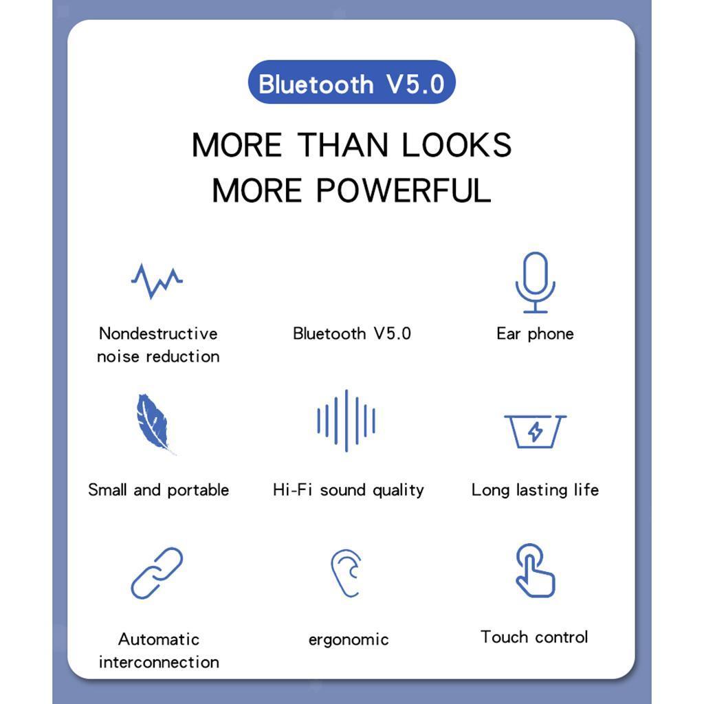 Senza-fili-di-Bluetooth-Cuffie-5-0-Auricolari-TWS-Auricolari miniatura 21