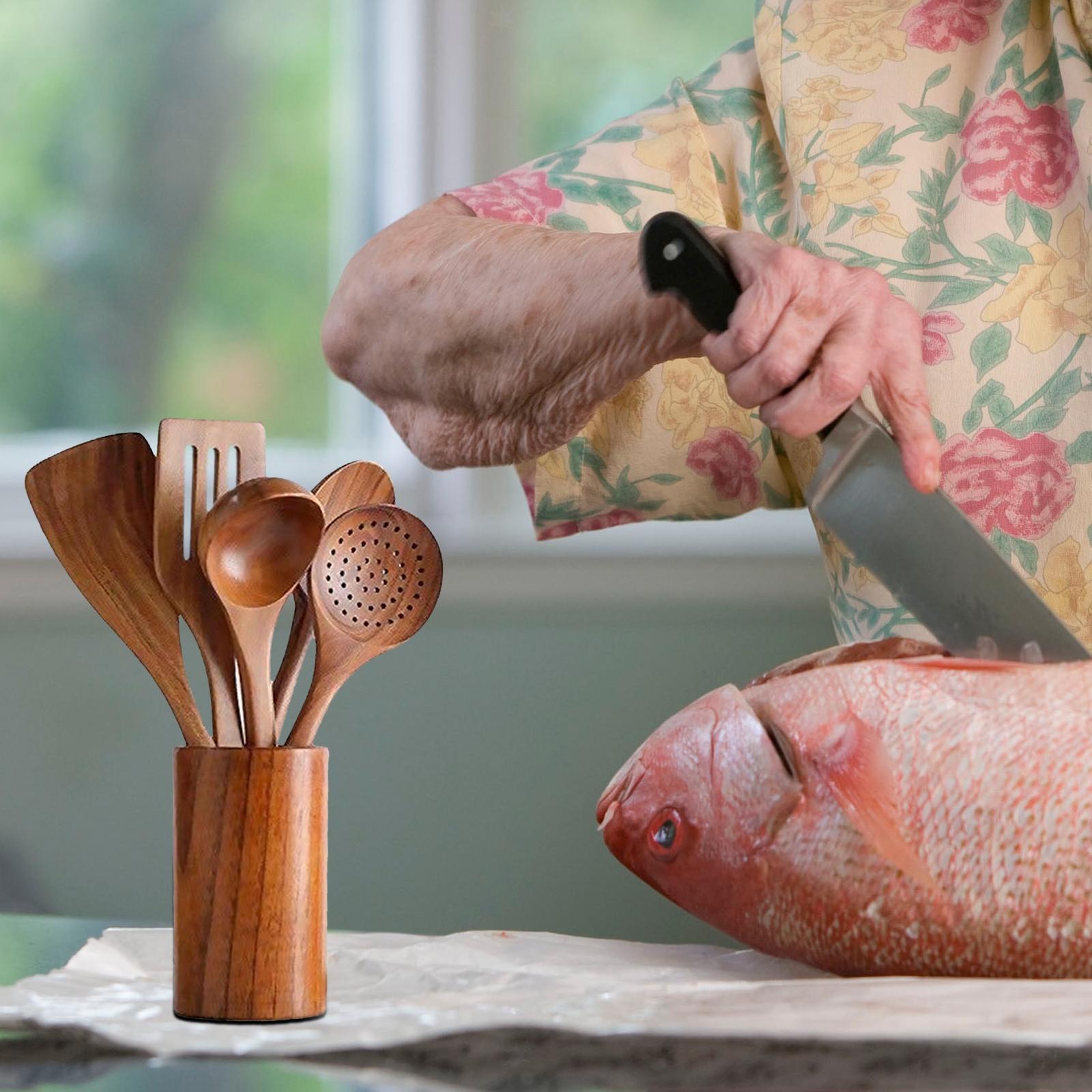 miniatura 7 - Cucchiai di legno Riutilizzabile Utensili Da Cucina Strumenti per la Cottura