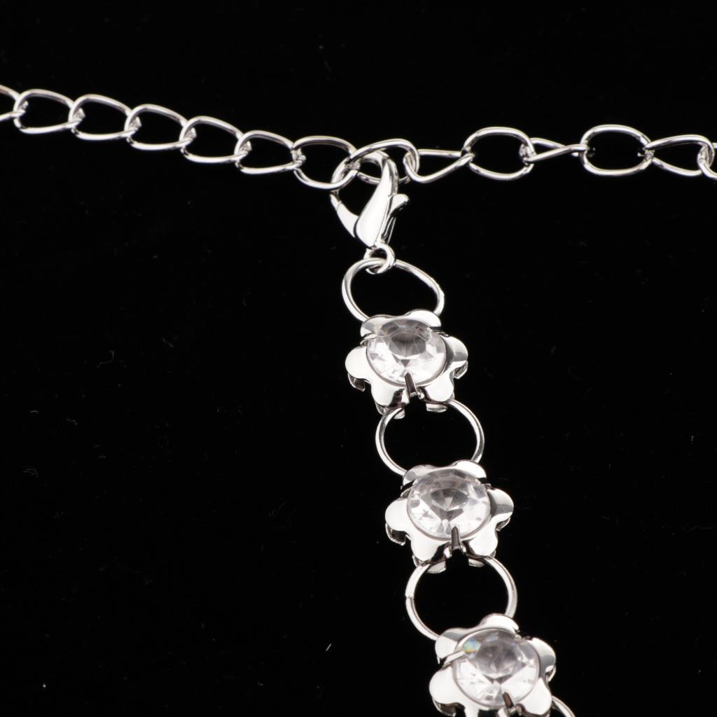 Crystal-Women-Shiny-Dress-Belt-Waist-Chain-Slim-Flower-Party-Club-Waistband thumbnail 7