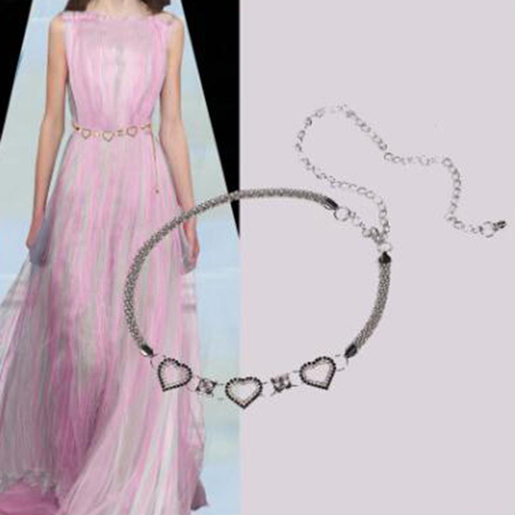 Women-Shiny-Dress-Waist-Chain-Belt-Love-Heart-Decorative-Diamante-Waistbands thumbnail 7