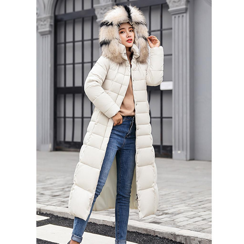miniature 7 - Manteau long en duvet pour femmes avec col en fausse fourrure Veste matelassée