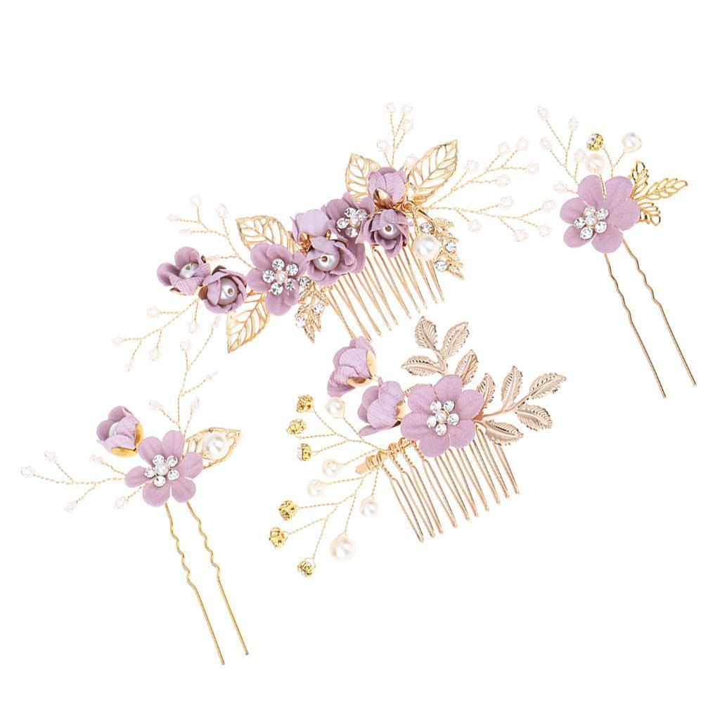 4pcs-mariee-mariage-diapositive-cheveux-peigne-clip-laisse-epingle-a-cheveux miniature 6