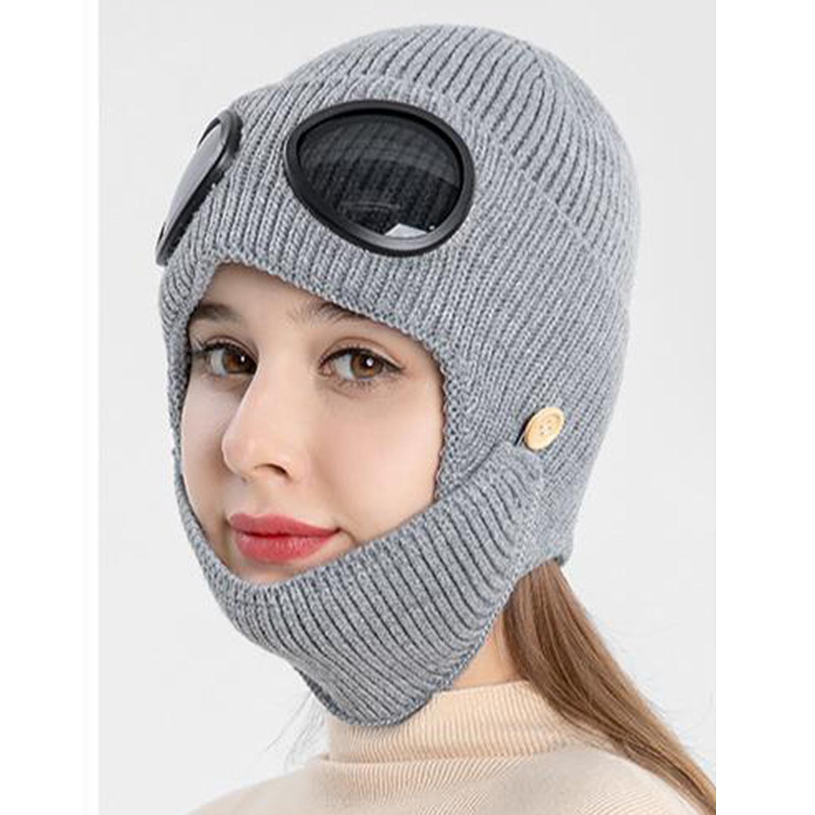 miniature 20 - Masque de tête de visage hiver bonnet chaud avec lunettes casquette d'oreille