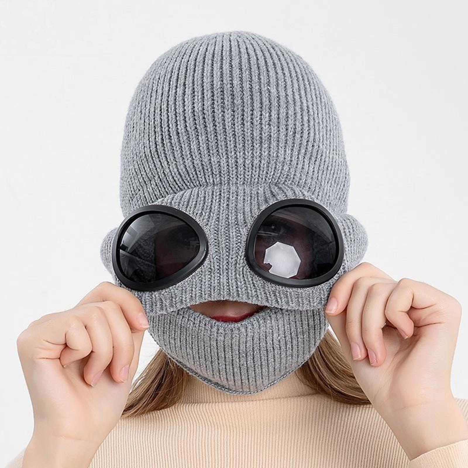 miniature 13 - Masque de tête de visage hiver bonnet chaud avec lunettes casquette d'oreille