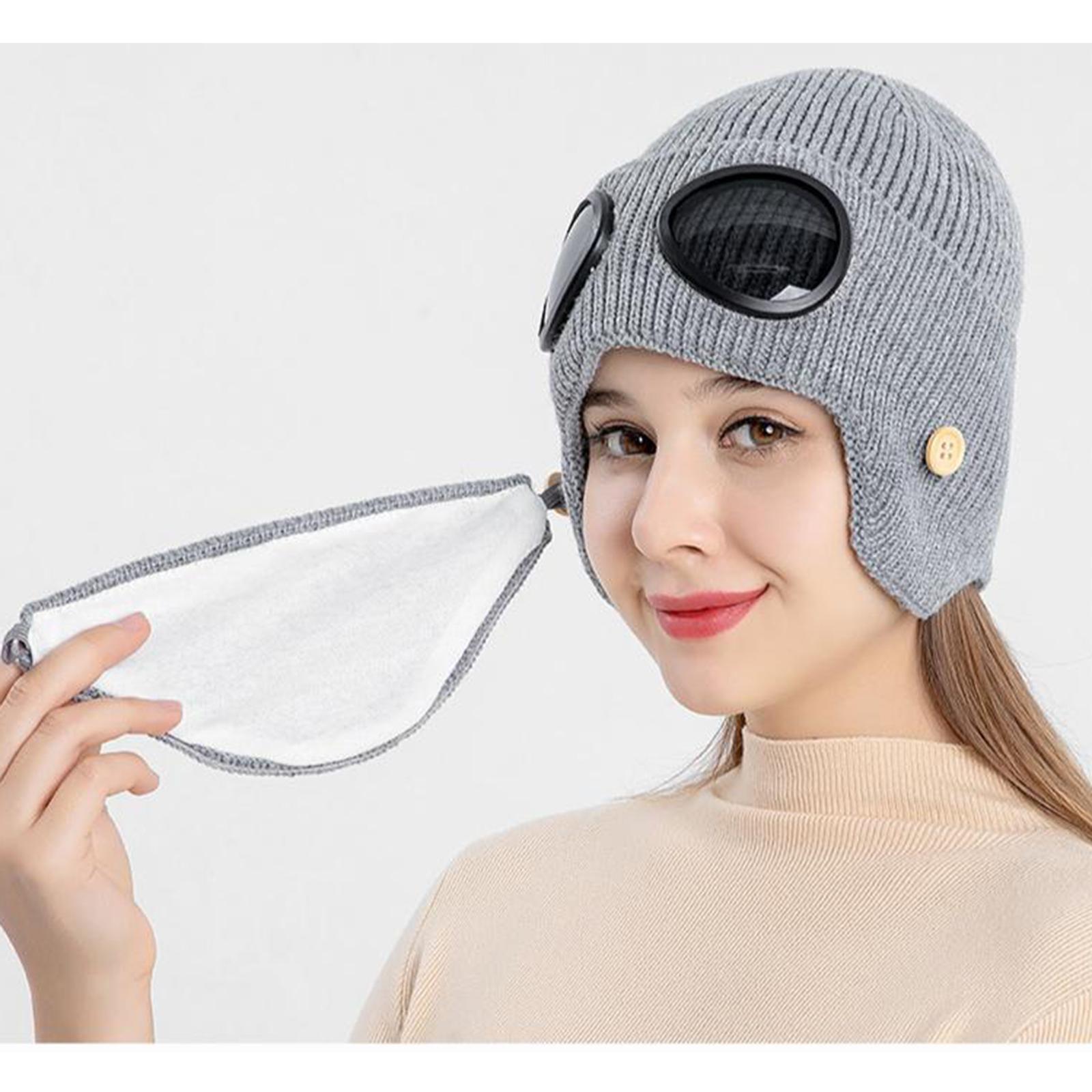 miniature 14 - Masque de tête de visage hiver bonnet chaud avec lunettes casquette d'oreille