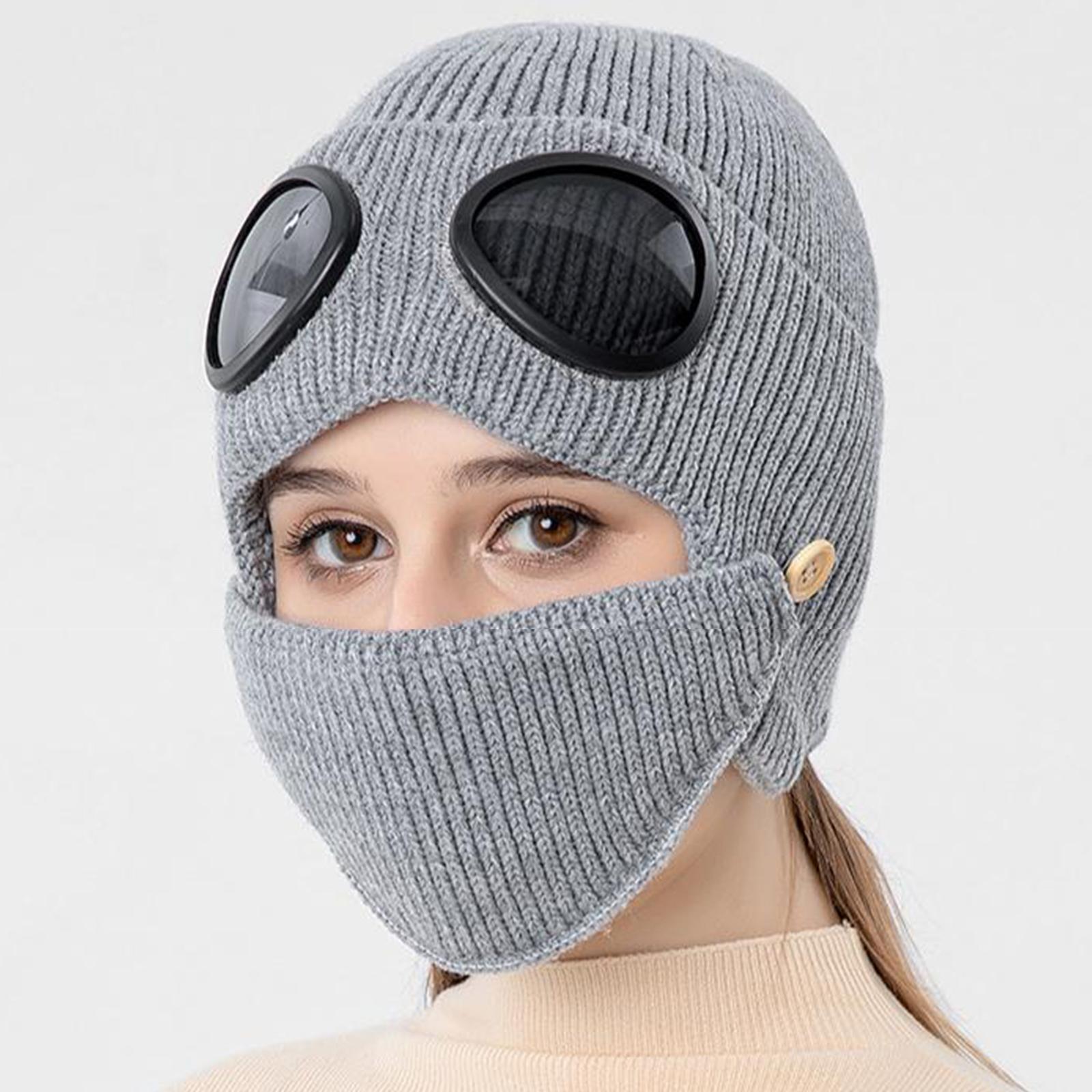 miniature 16 - Masque de tête de visage hiver bonnet chaud avec lunettes casquette d'oreille