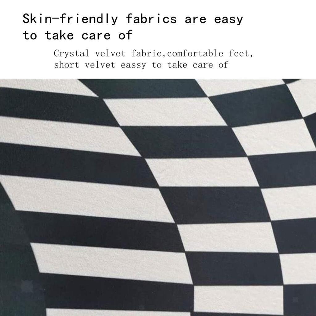 Nero-Bianco-Griglia-Tappeto-3D-Illusion-Vortice-Camera-Da-Letto-Anti-Pavimento miniatura 13