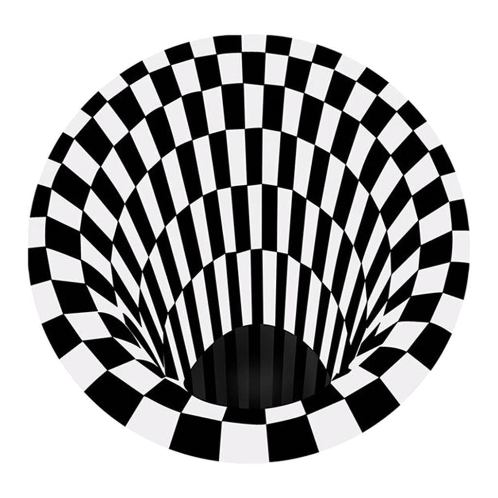 Nero-Bianco-Griglia-Tappeto-3D-Illusion-Vortice-Camera-Da-Letto-Anti-Pavimento miniatura 12