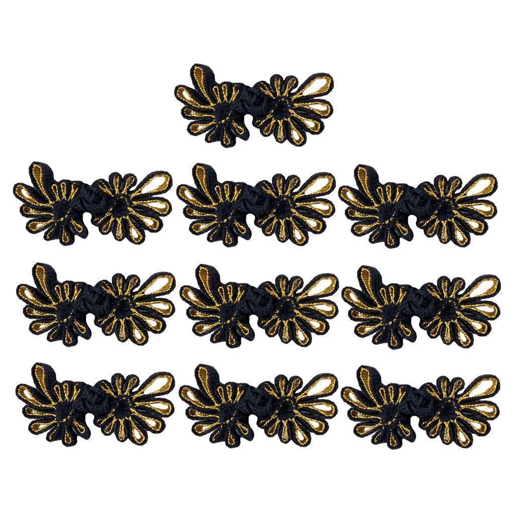 10-Pcs-Chinesischen-Knoten-Blumen-Design-Cheongsam-Schliessung-Frosch-Verschluss Indexbild 9