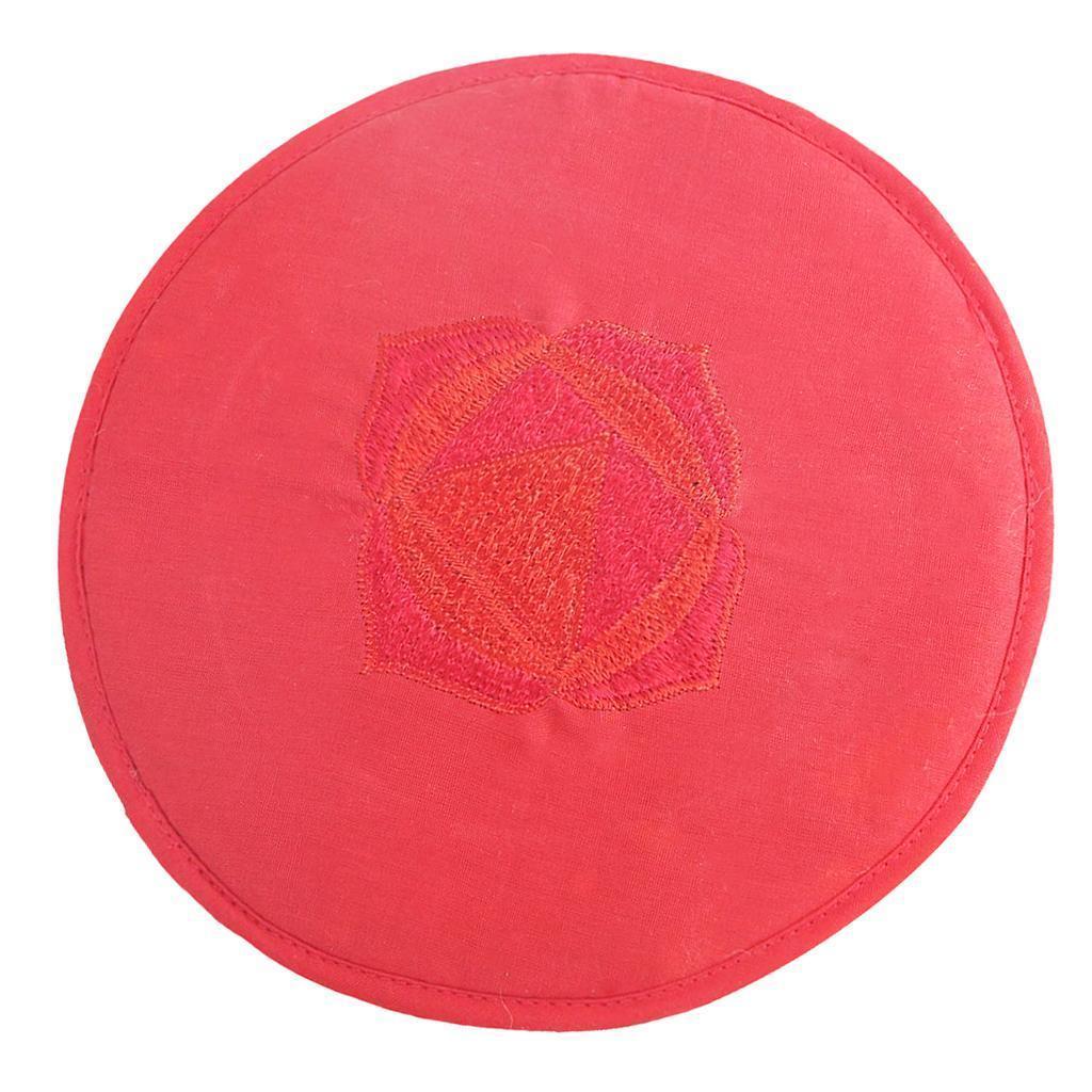Tessuto-Rotondo-Tibetano-Singing-Bowl-Cuscino-per-Dharma-Buddhismo-Rosso miniatura 4
