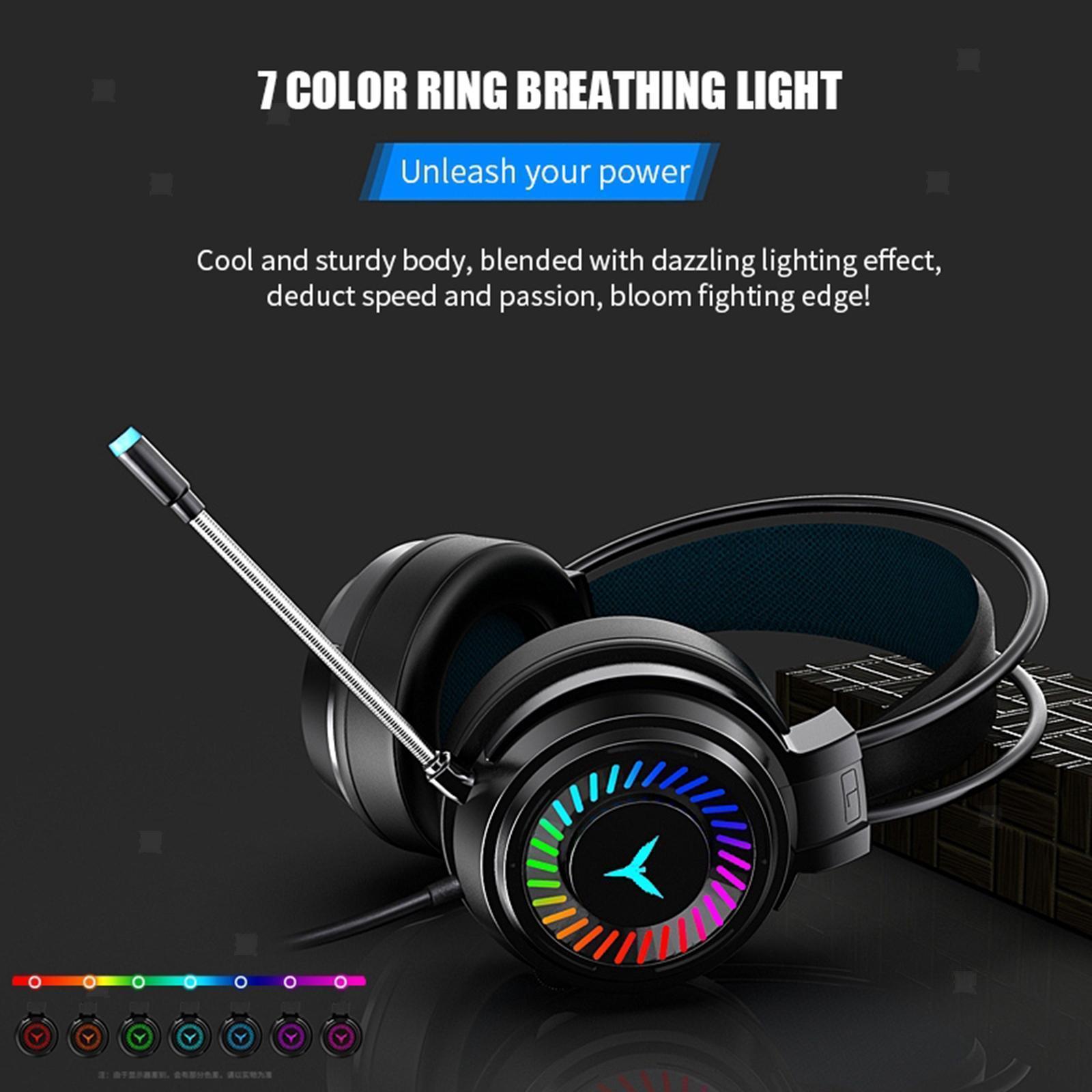 miniature 17 - Confortable Coloré LED   Gaming Headset 7.1 Surround Sound pour PC