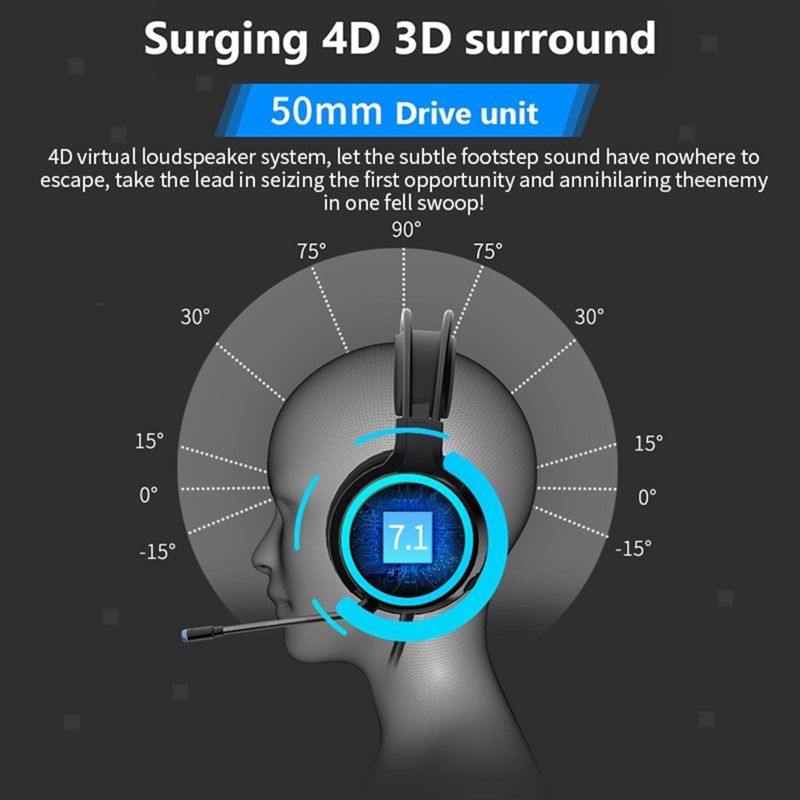 miniature 24 - Confortable Coloré LED   Gaming Headset 7.1 Surround Sound pour PC