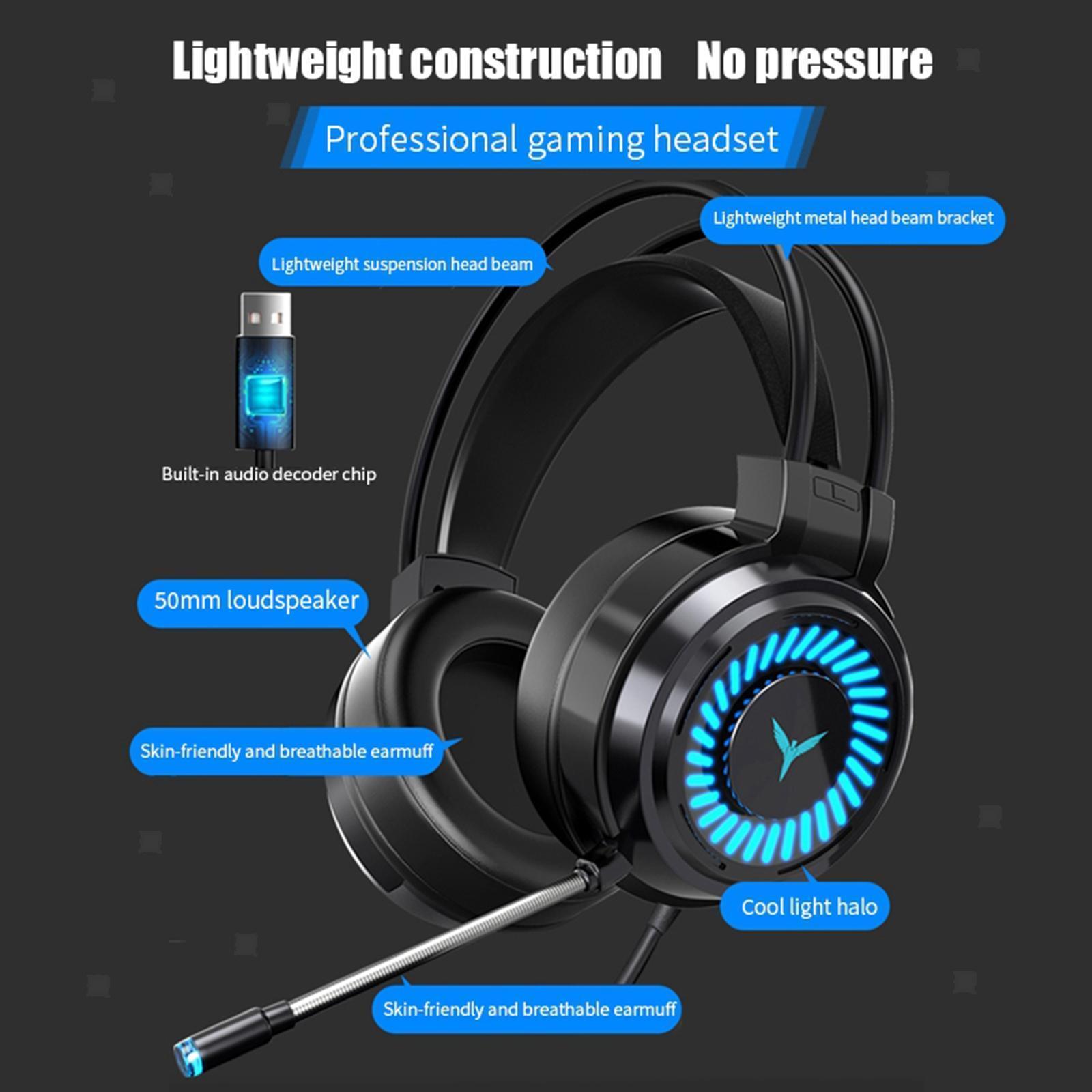 miniature 20 - Confortable Coloré LED   Gaming Headset 7.1 Surround Sound pour PC
