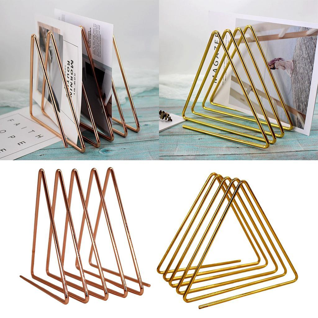 Modern-Desktop-Bookshelf-Triangle-Metal-Book-Rack-File-Sorter-Organizer thumbnail 4
