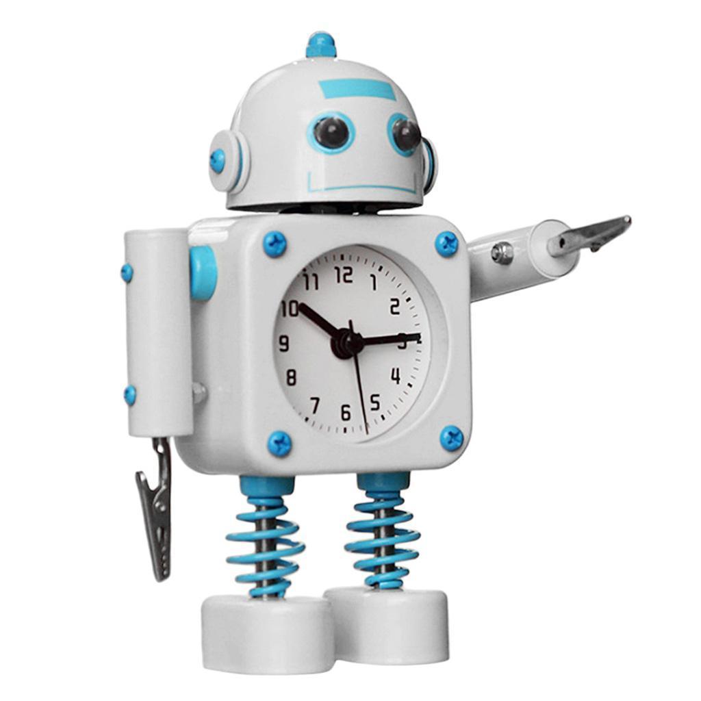 Robot-Del-Fumetto-Non-Ticchettio-Sveglia-Da-Comodino-Camera-Da-Letto-Di-Casa miniatura 11