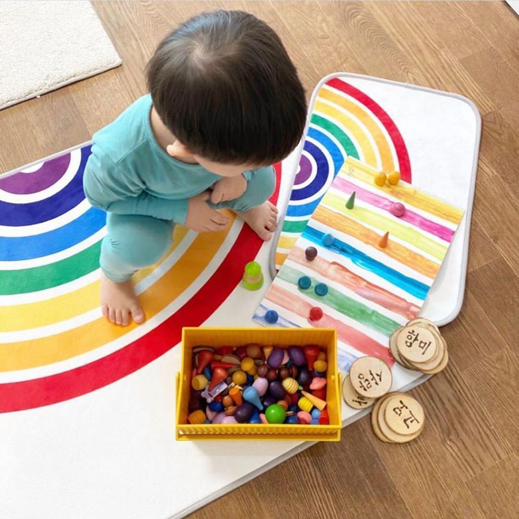 Ingresso-Rainbow-Area-Tappetino-Tappetino-Zerbino-Camera-dei-bambini-Decorazione miniatura 4