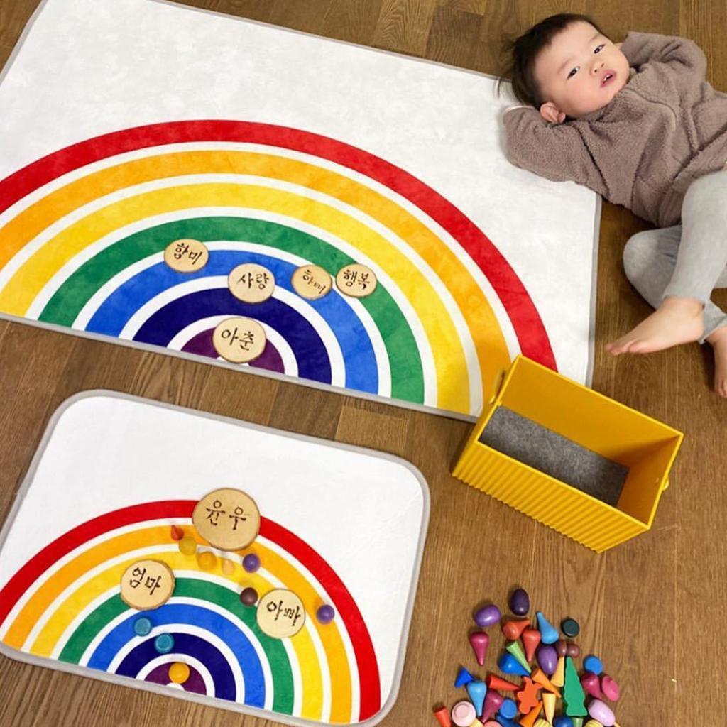 Ingresso-Rainbow-Area-Tappetino-Tappetino-Zerbino-Camera-dei-bambini-Decorazione miniatura 3