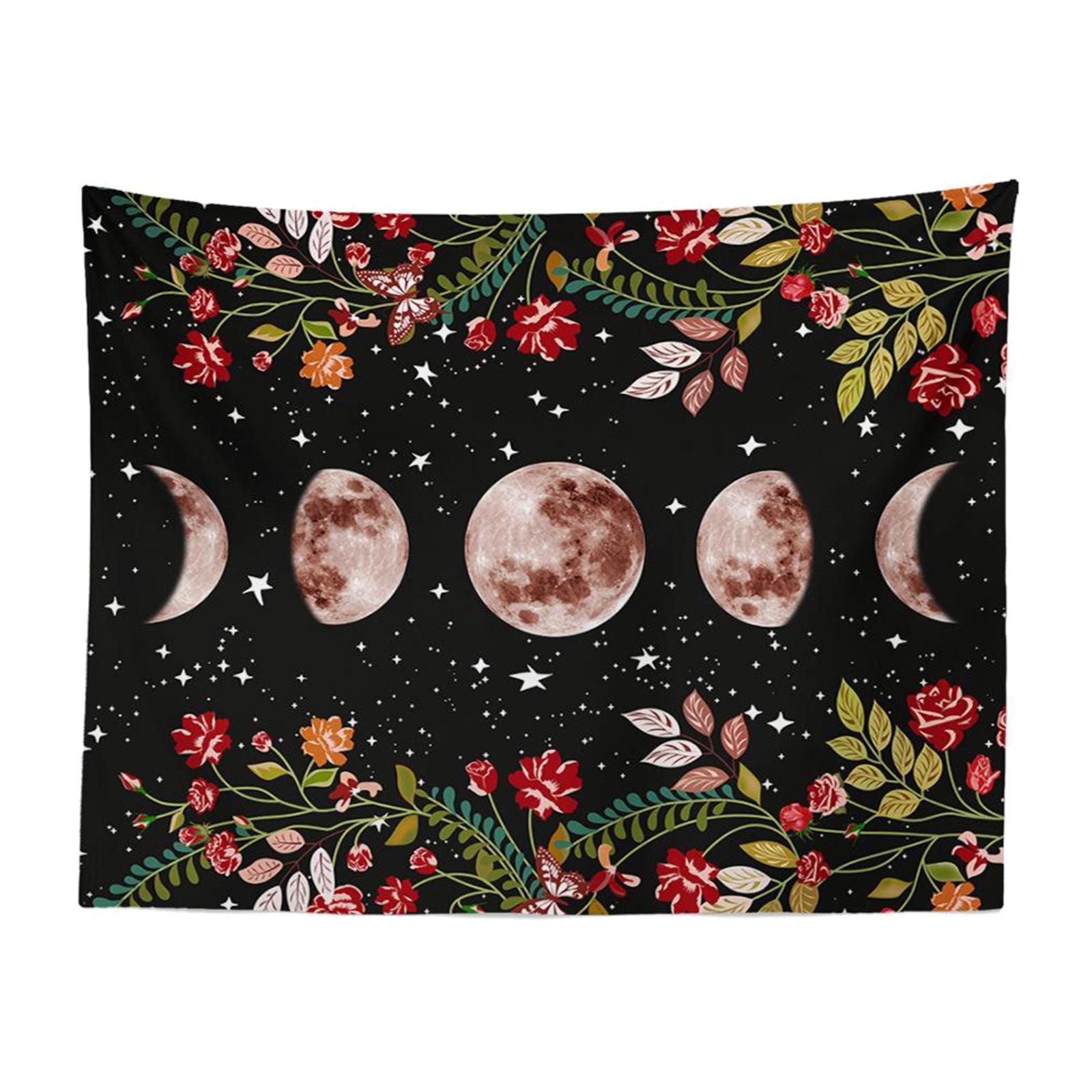 Arazzo-da-giardino-Moon-Star-Arazzi-Fiore-Vine-Arazzo-da-parete-Sfondo-nero miniatura 6