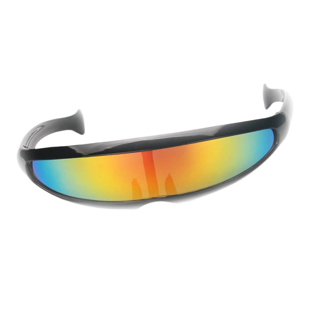 2//set Novelty Futuristic Shield Sunglasses Mirror Monoblock Glasses Costume