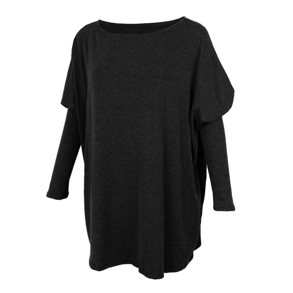 Womens-Long-Batwing-Sleeve-Solid-Pullover-Tops-Casual-Loose-Oversized-Shirts thumbnail 3