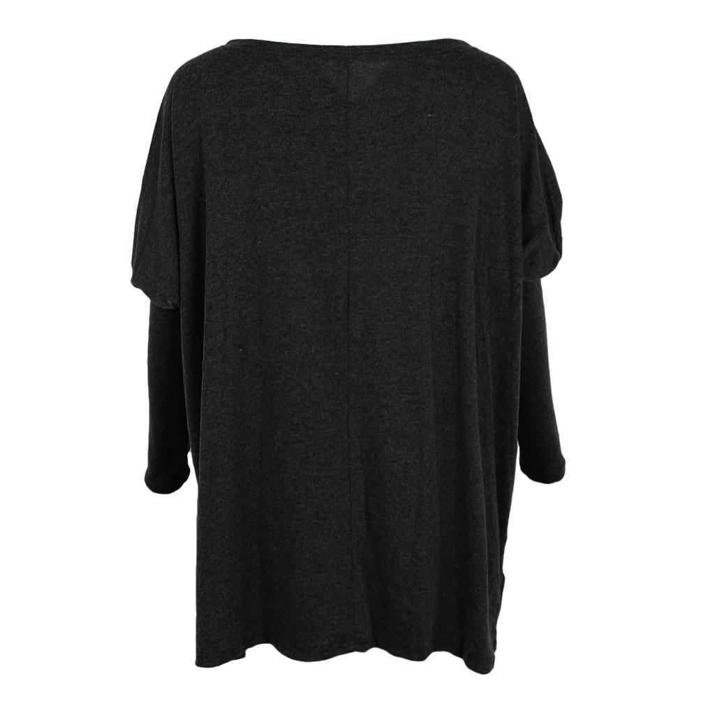 Womens-Long-Batwing-Sleeve-Solid-Pullover-Tops-Casual-Loose-Oversized-Shirts thumbnail 5