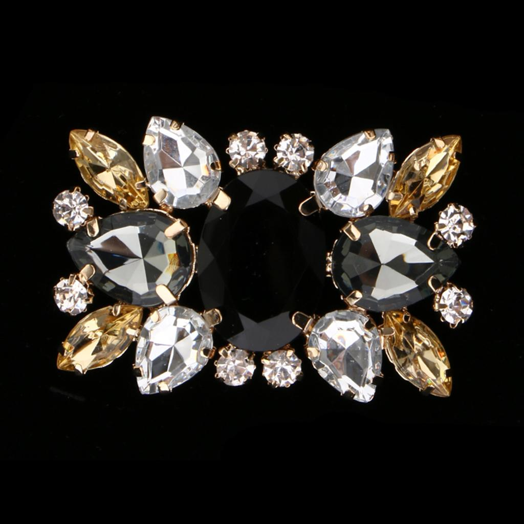 Women Rectangle Design Wedding Party Crystals Clutch Dress Hat Shoe Clips