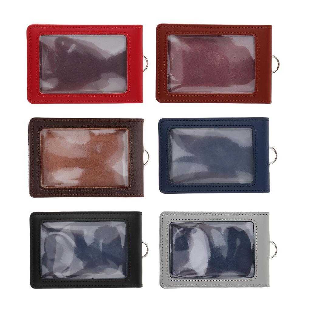 Porte-badge en cuir d'unité centrale de fenêtre d'identification Double