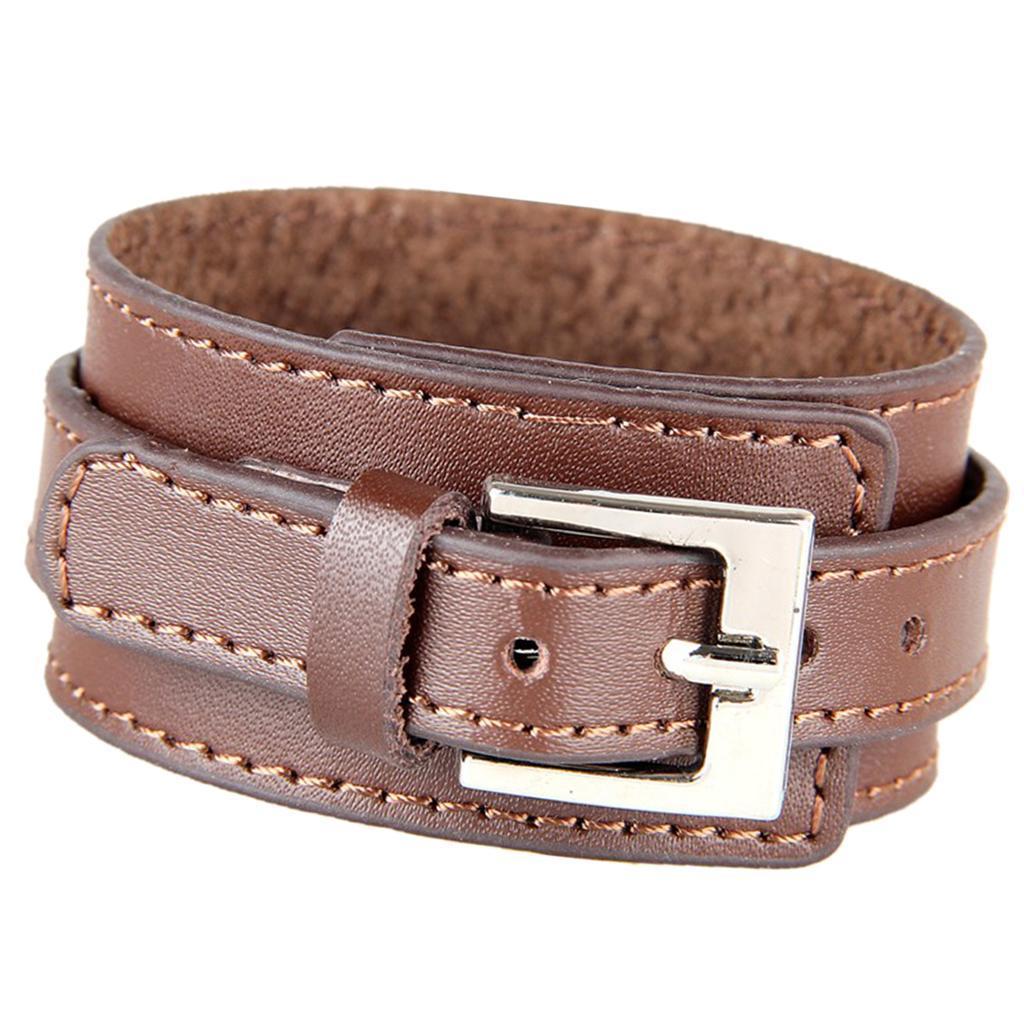Indexbild 7 - Modeschmuck Pu Kuh Leder Breite Stulpe Armband Snap Armreif Für Männer Frauen