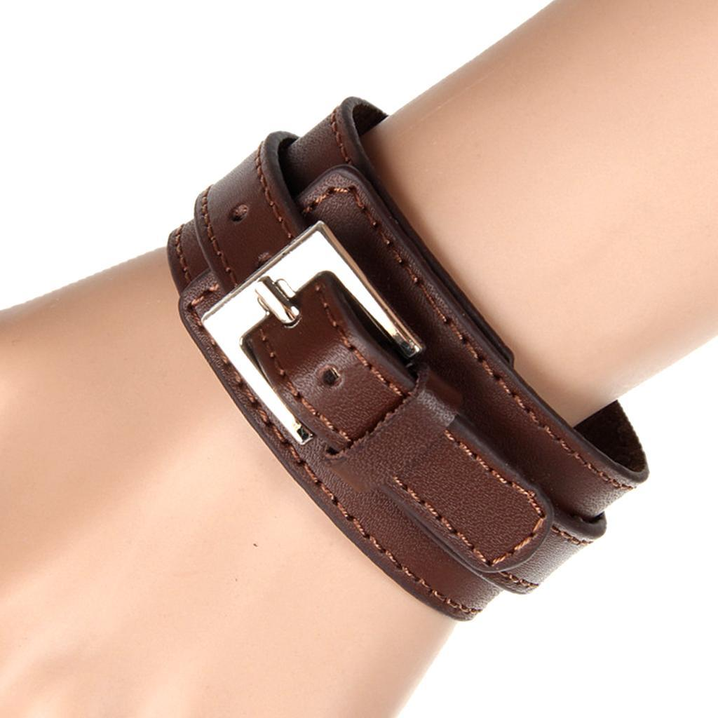Indexbild 6 - Modeschmuck Pu Kuh Leder Breite Stulpe Armband Snap Armreif Für Männer Frauen