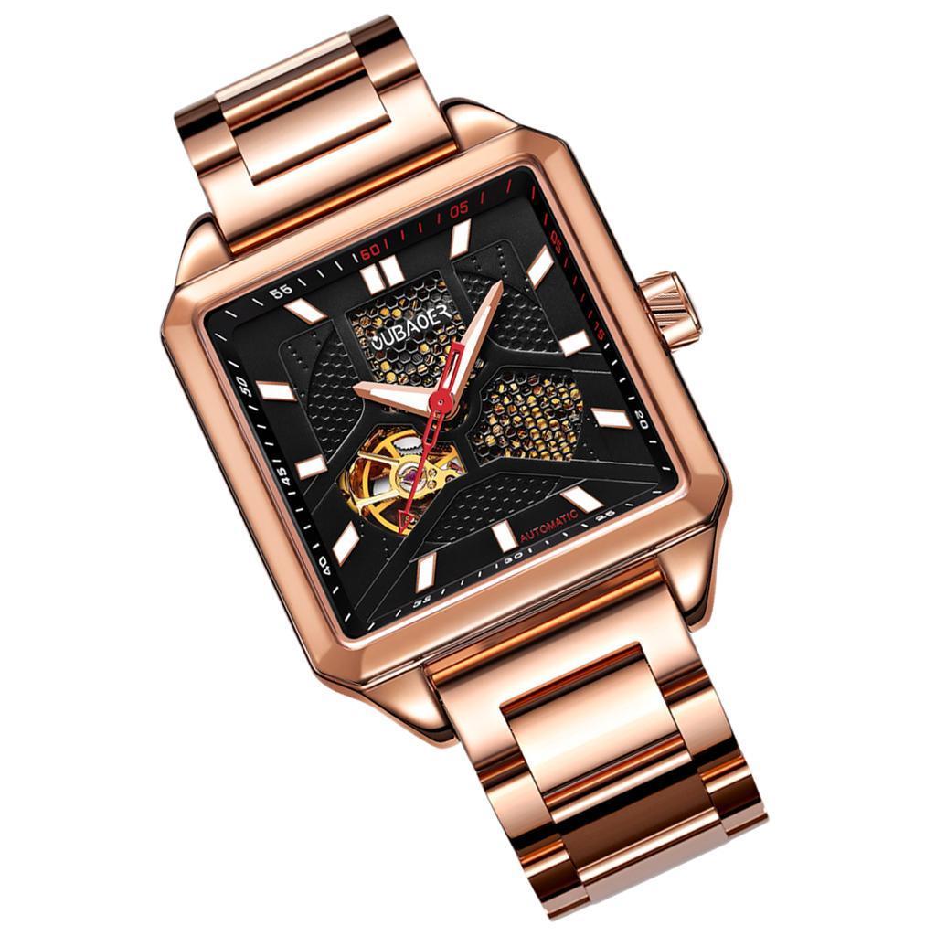 Herren-Armbanduhr-Automatische-Mechanische-Skelett-Armbanduhr-aus-Edelstahl-fuer Indexbild 4
