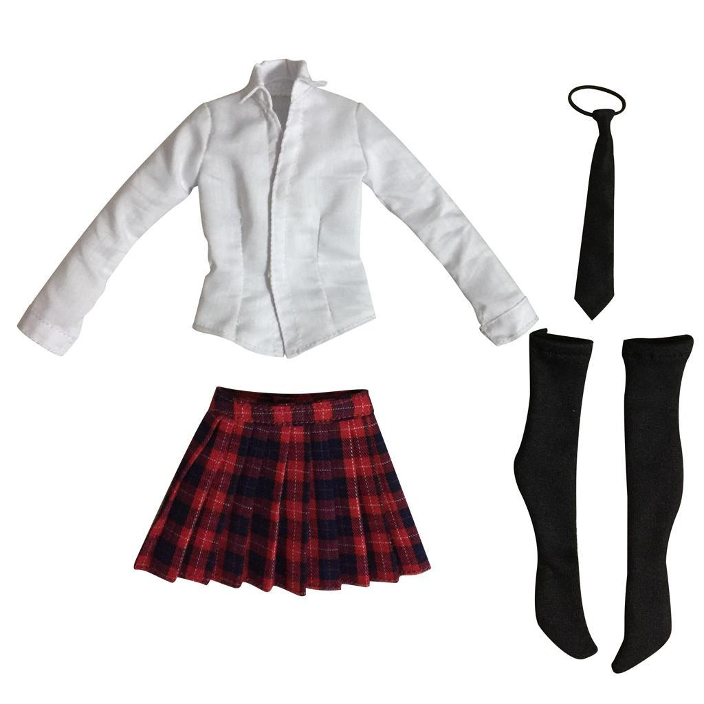 "2 Set 1//6 Female School Girl Uniform for 12/"" Action Figure Outfit Clothes"