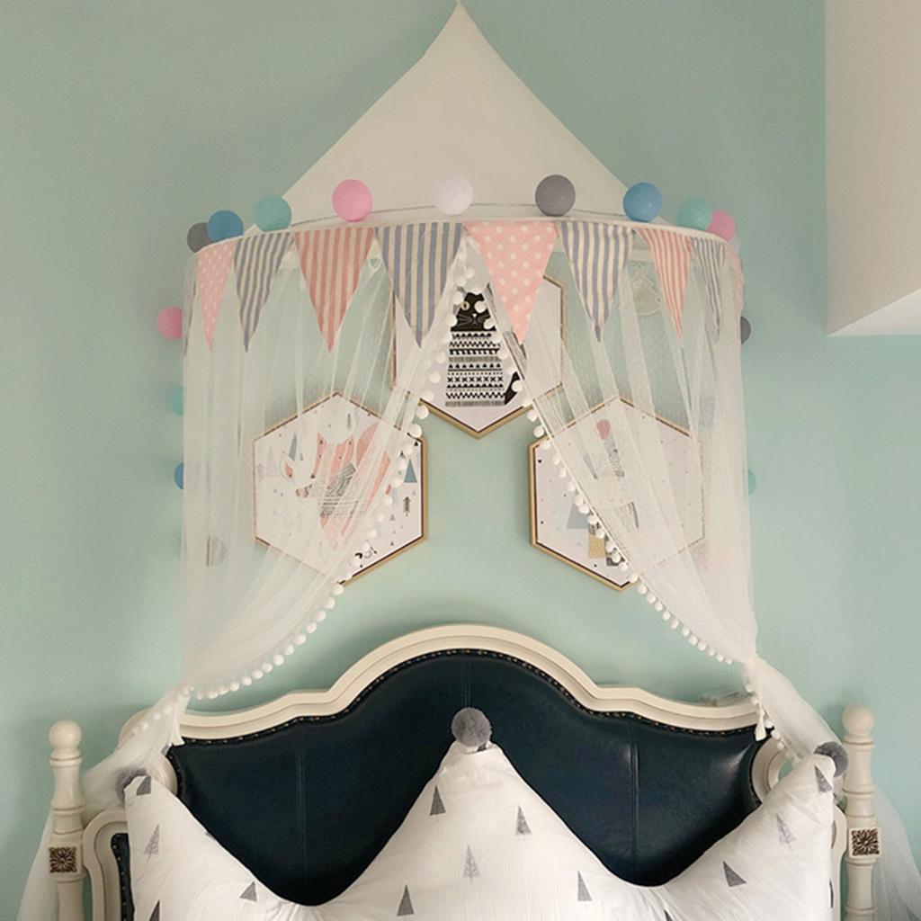 Betthimmel Moskitonetz für Kind Baby Hängende Wohnkultur Leseecke Weiß S