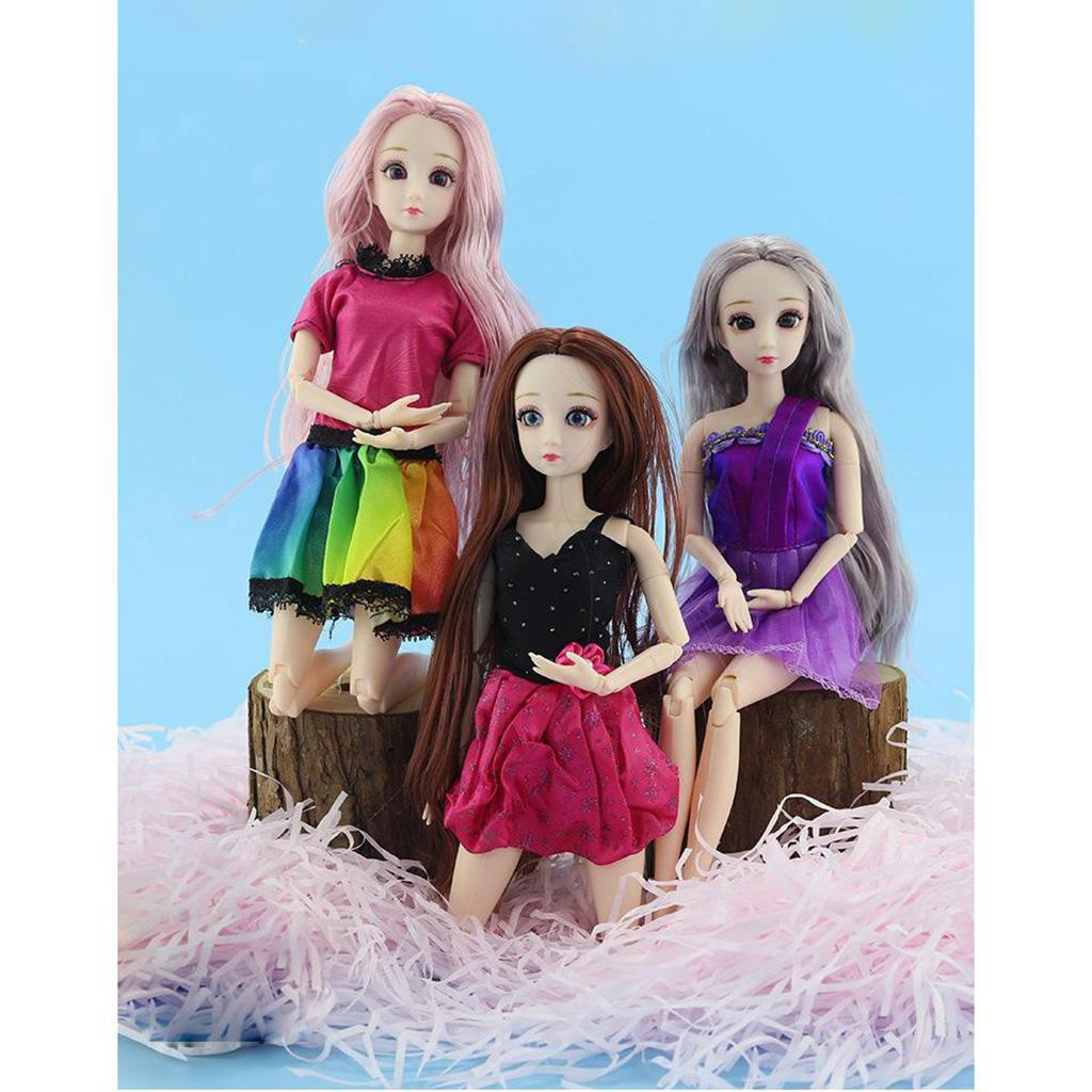 Ball-Jointed-Girl-Dolls-3D-Eyes-with-Clothes-Shoes-Fashion-Gifts-White-Toy thumbnail 15
