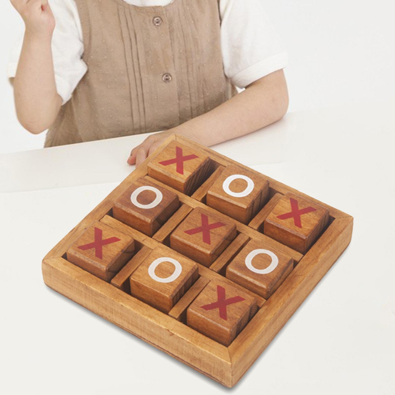 miniatura 4 - Di legno Tic Tac Toe/ Noughts e Croci Gioco Gioco di Famiglia Giochi Da