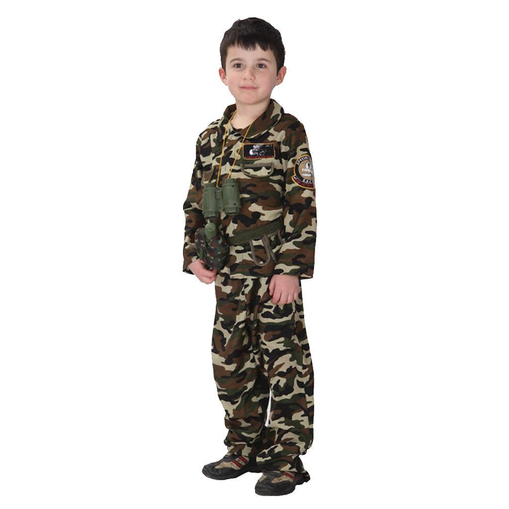 Cool-Kid-Boys-Army-Soldier-Costume-Uniform-Child-Party-Fancy-Dress-Outfits miniature 7