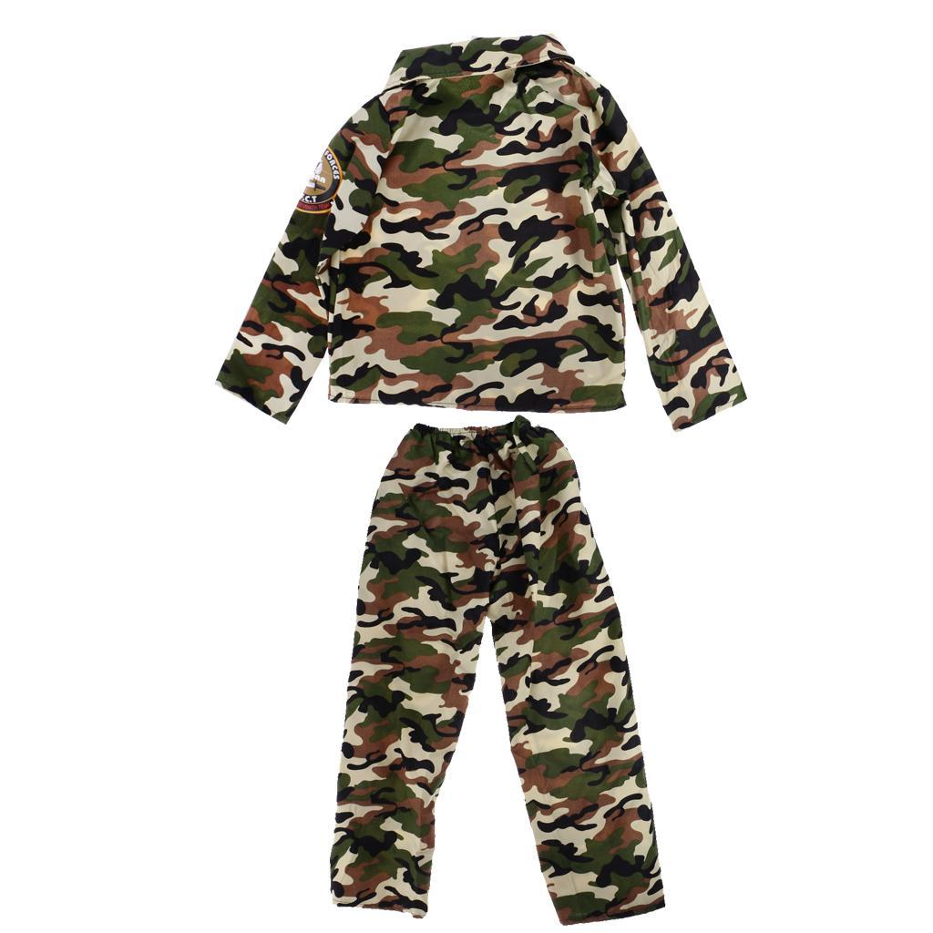 Cool-Kid-Boys-Army-Soldier-Costume-Uniform-Child-Party-Fancy-Dress-Outfits miniature 8