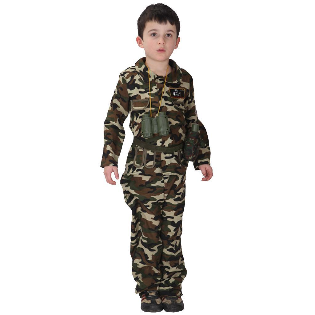 Cool-Kid-Boys-Army-Soldier-Costume-Uniform-Child-Party-Fancy-Dress-Outfits miniature 9