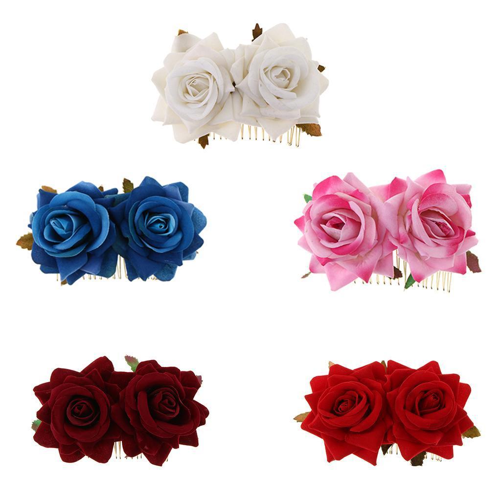 Pettini-Per-Capelli-Da-Sposa-Clip-Di-Capelli-Di-Rose-Fiori-Per-Capelli-Da-Sposa miniatura 4